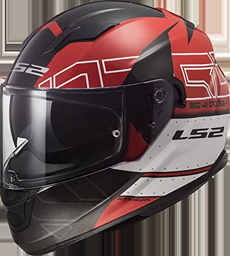 LS2 Casco Moto Rosso/Nero, Taglia M