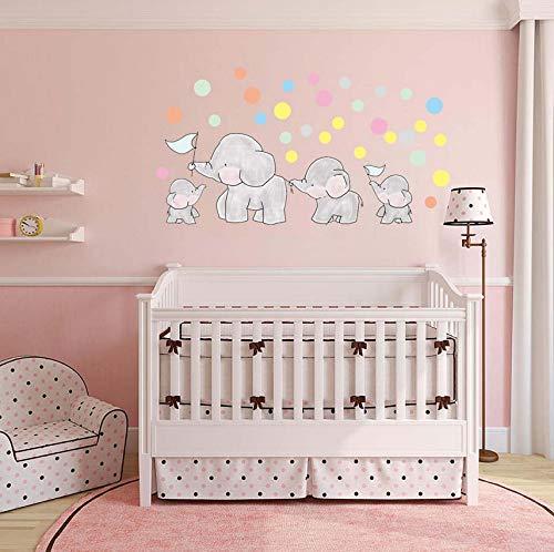 Zyzdsd Kreis Punkte 3D Cartoon Elefant Wandaufkleber Niedlichen Tier Familie Wandtattoo Diy KunstFür Kinder Baby Room Home Decor