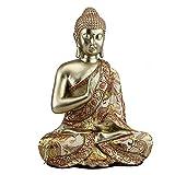 Budhha sitzend aus Poly Gold 30 cm Buddhafigur Figur Skultur Mystik