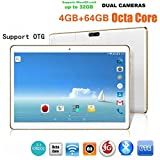 10.1'Tablette Tactile Android 6.0 Octa-Core 4G +64G Dual SIM&Camera Wifi PC Tablette Ecaran 2560 x1600 IPS (Blanc)