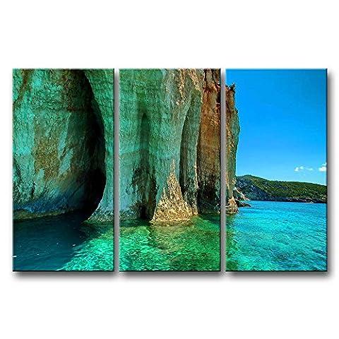 Leinwanddruck Bild Cliff in the Bay klares Wasser Beautiful Mountain 3Stück Gemälde Moderne Giclée-gespannt und gerahmt Artwork Öl der Seascape Bilder Foto Prints auf Leinwand