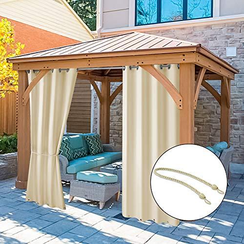 Pro Space Sichtschutz-Vorhänge für den Außenbereich, 127 x 96 cm, für Terrasse/Pergola/Veranda, Thermo-Isolierung, mit rostfreien Ringen Oben und unten (Beige), 2 Paneele (Lang, Vorhänge Cm 96)