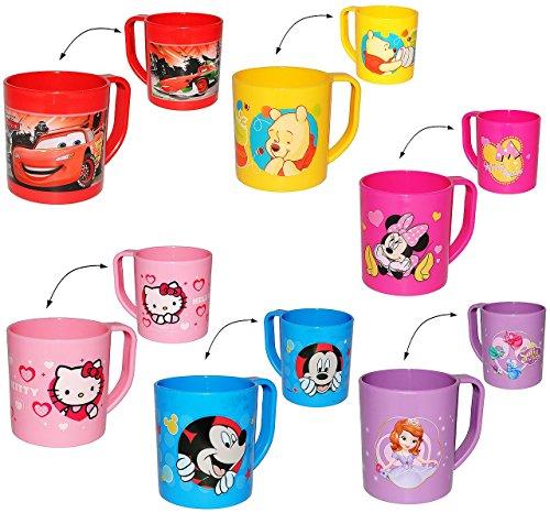 """Trinkbecher / Henkeltasse - """" Jungen Motiv """" - aus Kunststoff Plastik - Tasse - Kindertasse / Kinderbecher - für Baby - Trinklerntasse / Trinkbecher Kleinkinder - Kindergeschirr - Becher - Henkelbecher - für Kinder - Mickey Mouse Pooh Cars"""