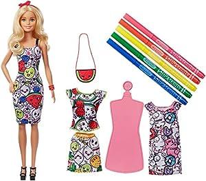 Barbie - Crayola Moda mil colores muñeca con vestidos y accesorios (Mattel GGT44)