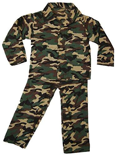 Mädchen Jungen Kostüm Kinder Party Outfit Kostüm - Armee Tarnfarbe Soldaten Outfit - Armee Tarnfarbe Soldaten, 5-7 years