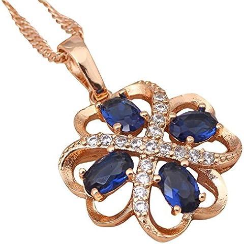 Bling fashion placcato in oro giallo 18K con zirconi blu Fashion Jewelry collane ln352a