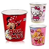 Bambini Disney & Hello Kitty rifiuti pattumiera in plastica multicolour