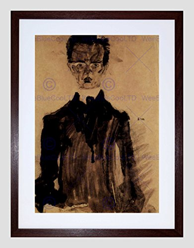 EGON SCHIELE SELF PORTRAIT IN A BLACK ROBE OLD MASTER FRAMED PRINT B12X2795 (Portrait Egon Schiele Self)