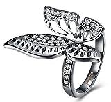 Gnzoe Edelstahl Ring Damen Ringe Kristall Schmetterling Form Solitärring Antragsringe Weiß mit Zirkonia Gr.60 (19.1)
