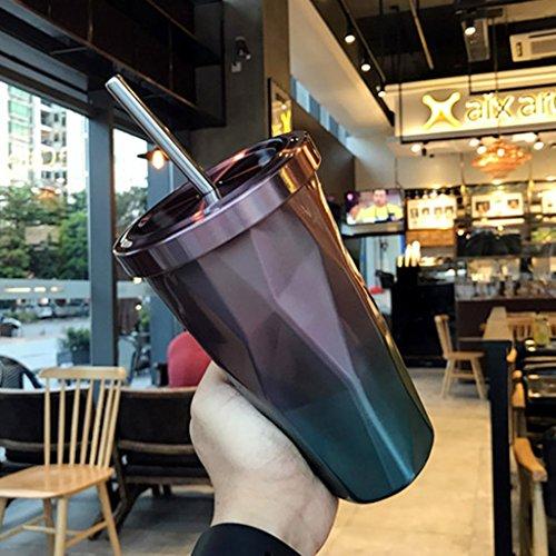 Tasses Mugs et soucoupes Tasses à Expresso Coupe de la personnalité Irrégulier Rhombus Gradient Tasse de Paille en Acier Inoxydable Couvercle Coupe de jus de jus Tasse d'eau de café