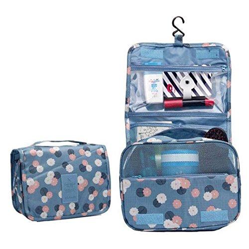 Sac de toilette suspendu pour voyage - Sac de lavage suspendu portable avec un crochet fort et un grand compartiment transparent détachable pour maquillage ou liquides Blue