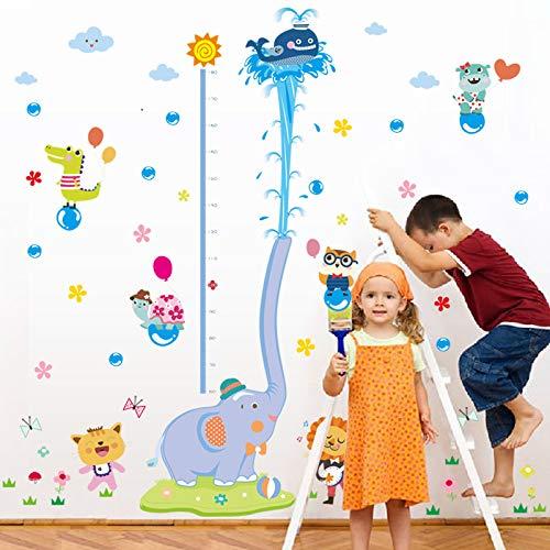 ELGDX Sticker Mural Dessin Animé Animal Grandir Hauteur Mesure Règle Pépinière Enfants Chambre Enfants Amovible Carreau Porte Decal Décor Mural