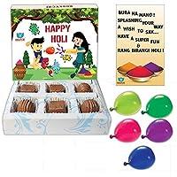 BOGATCHI Happy Holi Chocolate Gift Box, 6 pcs + Free Greeting Card and Holi Gifts