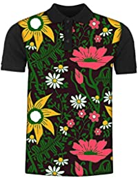 Snoogg Seamless Texture with Flowers and Butterflies Endless Floral Pattern Men's Polo T-Shirt with Collar Stylish Half Sleeve (Cotton,Polyester)