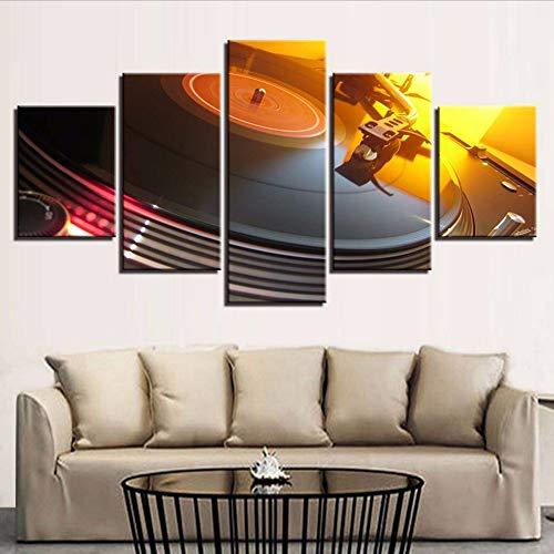 Toile Photos Modulaire Salon Décor Cadre 5 Pièces Musique DJ Console Platines Vinyles Peinture Bar Discothèque Mur Art Affiche-200x100cm
