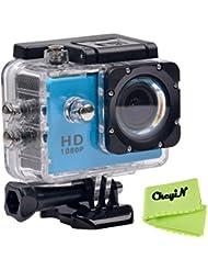CkeyiN ® 1080P Full HD Impermeable Cámara de Acción Deportiva con Pantalla LCD de 2.0 Pulgadas (Azul)