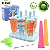 CRMICL 6 Pac Eis am Stiel Formen, Stieleisformer, Eisformen, Popsicle Formen Set, BPA Geprüft und BRA Free, Formen Wiederverwendbaren Stieleis-Formen, Eisformen für Kinder und Erwachsene