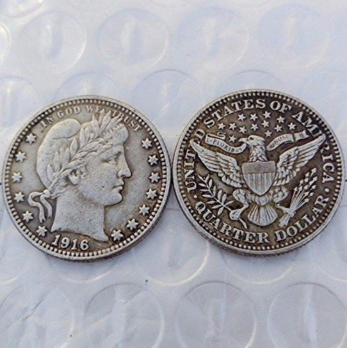 Bespoke Souvenirs Rare Antique USA United States 1916 Barber Quarter Dollar Silver Color Coin -