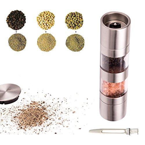 Eyoo 2-in-1 Salz und Pfeffermühle Set mit einstellbarer Feinheit und Pinsel, Edelstahl Gewürzmühle, Salz-und Pfefferstreuer mit Sichtfenster