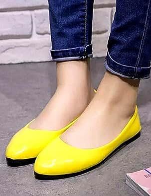 DFGBDFG PDX/Damen Schuhe Libo New Style Hot Sale flach Heel Comfort Wohnungen Office & Karriere/Casual Schwarz/Rot/Weiß/Gelb, yellow-us8/eu39/uk6/cn39 - Größe: One Size