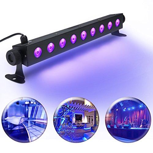 UV LED-Beleuchtung, Elfeland 3W 9 UV LEDs Schwarzlicht Partylicht Effektlicht Bühnenbeleuchtung für Club Party KTV Disco Stadium Ballsaal Bühne Fest