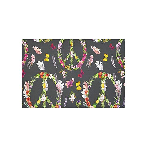iedenszeichen Floral Blume Schmetterling Federn Wandteppiche Wandbehang Blume Psychedelic Wandbehang Wandbehang Indischen Wohnheim Dekor Für Wohnzimmer Schlafzimmer 60 X 40 Zoll ()