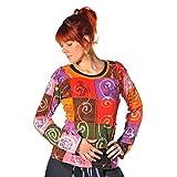 Patchwork Shirt Pullover Oberteil Sweatshirt Zip Hoodie Freizeitshirt Hippie Goa PSY Sweater Asha (Bunt, S)