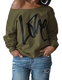 Estyle Fashion Damen Pulli Langarm T-Shirt Rundhals Ausschnitt Lose Bluse  Pullover Sweatshirt Oberteil Tops e782a0c1ca