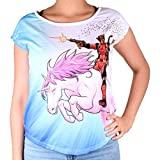 Deadpool Damen T-Shirt Unicorn Ride Loose Fit Marvel Weiß Blau - L