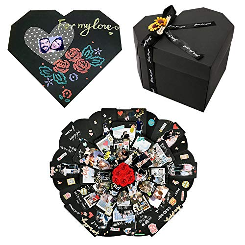 YILEEY Caja Sorpresa Regalo Forma de Corazón, San Valentin Regalos Originales para Hombre Mujer, Creative Álbum de Fotos de Scrapbooking Explosion Box, Regalos Dia de la Madre Aniversario Cumpleaños