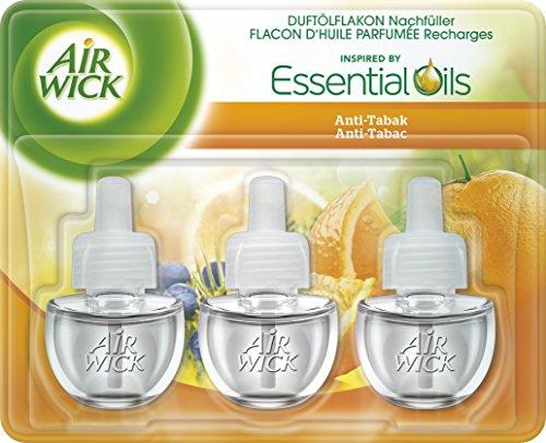 Air Wick Duftölflakon 3er Pack, Nachfüller für Duftstecker, Anti-Tabak