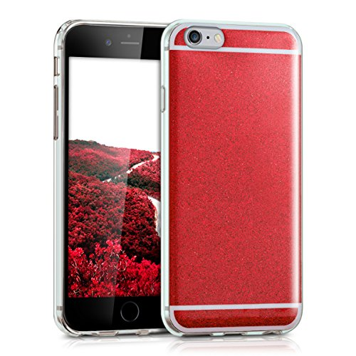kwmobile Hülle für Apple iPhone 6 / 6S - TPU Silikon Backcover Case Handy Schutzhülle - Cover Metallic Rosegold Glitzer Rot