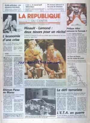 REPUBLIQUE DU CENTRE (LA) [No 12399] du 22/07/1986