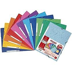 Exacompta 55510AMZE - Lote de 11 Carpetas c/gomas con 3 solapas (10 + 1 gratis), Tamaño 24x32cm, Cartulina de 400g, Colores surtidos