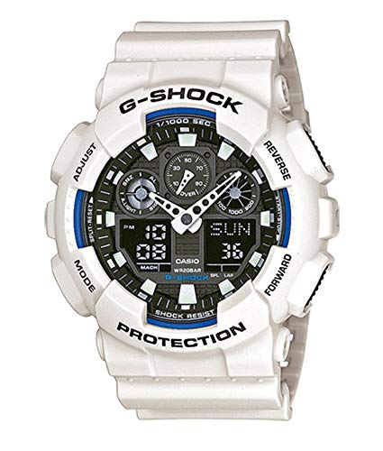 Casio G-Shock Analog-Digital Herren-Armbanduhr GA-100B weiß, 20 BAR