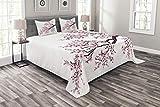 Abakuhaus japanisch Tagesdecke Set, Sakura Zweig Blüten, Set mit Kissenbezügen Kein verblassen, für Doppelbetten 264 x 220 cm, Rosa Dunkelbraun