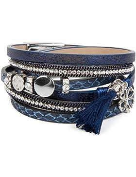 styleBREAKER Wickelarmband mit Strass, Quaste und Glücksklee Anhänger, Kette und Animal Print, Armband, Damen...