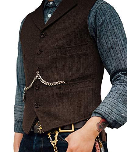Lovee Tux Herringbone Weste Formale Business Notch Revers Anzug Weste Wolle/Tweed Weste für Hochzeit(XXXL,Kaffee) -