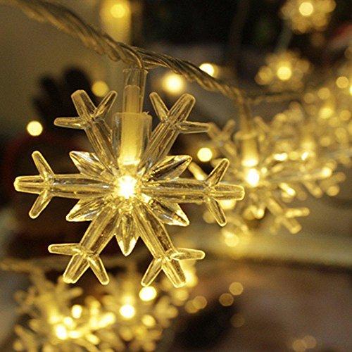 56LED Schneeflocken Warm White-Schnur-Licht Sternenlicht für Garten, Haus, Hochzeit, Weihnachtsfeier, Batteriebetriebene 2-String