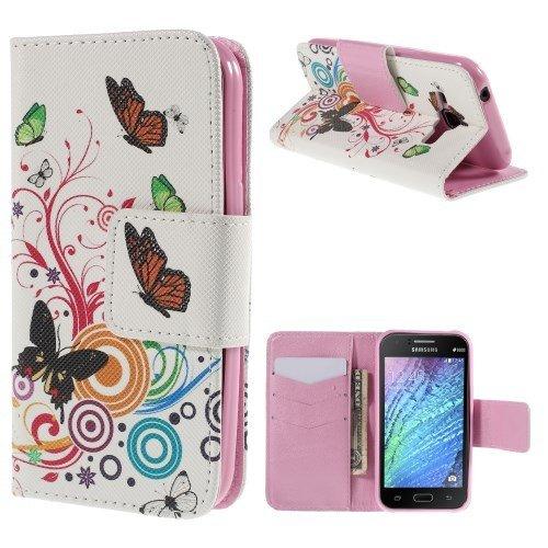 jbTec® Flip Case Handy-Hülle zu Samsung Galaxy J1 / SM-J100 - BOOK MOTIV #02 - Handy-Tasche, Schutz-Hülle, Cover, Handyhülle, Ständer, Bookstyle, Booklet, Motiv / Muster:Schmetterlinge Weiß S02