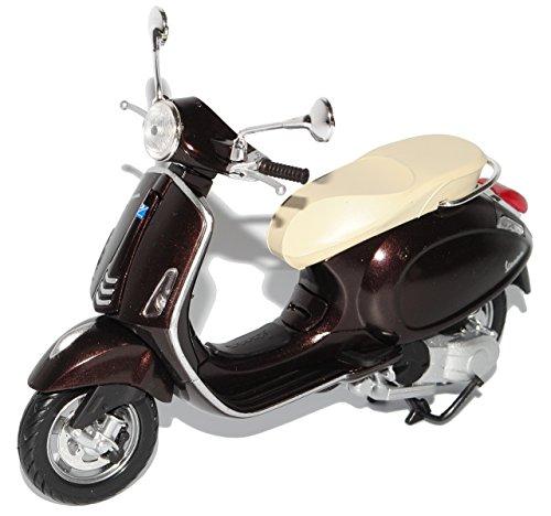Preisvergleich Produktbild Vespa Piaggio Primavera Schwarz Braun Ab 2013 1/12 New Ray Modell Motorrad mit individiuellem Wunschkennzeichen