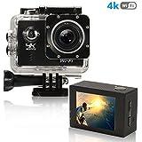 Aktion Sport-Kamera 4K HD 1080P Action Camera WiFi Unterwasserkamera 170° Ultra Weitwinkel Action Cam 2,0 Inch Wasserdicht Helmkamera mit 2 Batterien und 19 Zubehör Kits für Radfahren Schwimmen,Schwarz