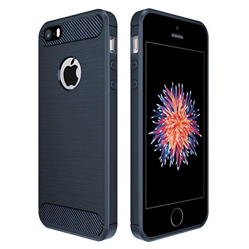 Simpeak Ersatz iPhone SE Hülle Blau, Premium Weiche Karbonfaser Elastisch Schützendes Rückseiten-Case Ersatz iPhone SE 5S 5[Fallschutz] [Rutschfest] [Kratzfest]