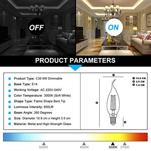 TAMAYKIM C35 6W Dimmbar Glühfaden LED Kerze Lampe, 3000K Warmweiß 600 Lumen, 60W Entspricht Glühlampe, E14 Fassung, Flamme Form, 360° Abstrahlwinkel, 3er-Pack - 3