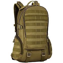 Huntvp Mochila de Asalto Estilo Militar Táctical de Nylon Gran Bolsa Impermeable 35L para Las Actividades Aire Libre Senderismo Caza Viajar Color Negro y Marrón