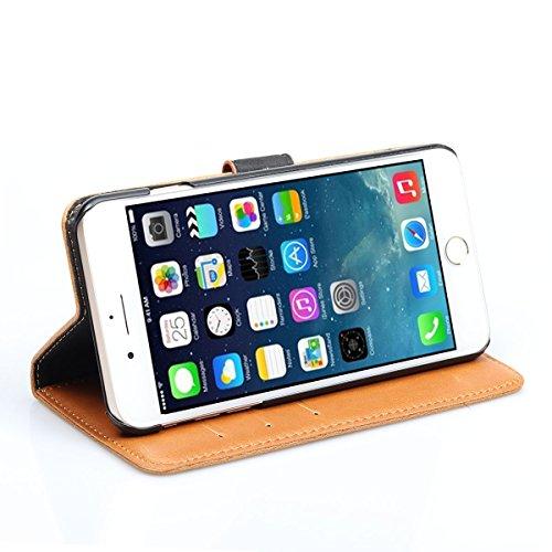 iPhone 7 Plus Hülle Feitenn Lederhülle Schutzhülle Mit Standfunktion Kartenhalte Kleingeld Leather Phone Case Cover Stoßfest Handyhülle Hülle Für Apple iPhone 7 (2016) - Gelb Gelb