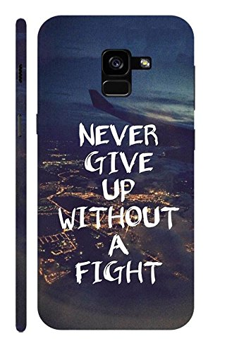 Case Cloud Samsung Galaxy A8 Plus (2018) (Never Give Up Without A Fight) Designer Printed Hard Back Cover - Blue