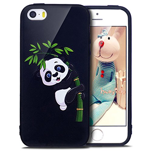 Coque iPhone SE, Étui iPhone 5S, iPhone SE/iPhone 5S Case, ikasus® Coque iPhone SE/iPhone 5S Housse Papillon Panda Hibou Fleur Modèle Couleur peinte Doux TPU Silicone Étui Housse Téléphone Couverture  Panda et bambou