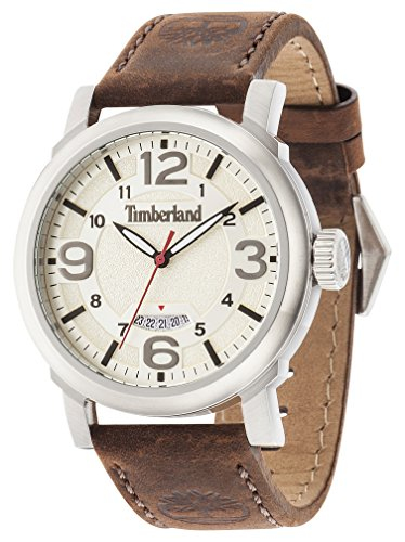 Timberland Men's Quartz Watch with Beige Dial Analogue Display and Dark Brown Leather Strap 14815JS/07
