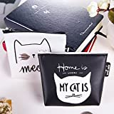 Cleanrance Cute Cat Coin Purse for Women Teen Girls Leather Mini Clasp Buckle Change Pouch Keys Jewelry Cards Case Flowers Print Wallet Cheap Gift for Girls (C)